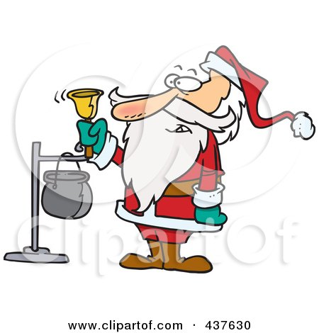 Royalty-Free (RF) Clip Art Illustration of Santa Ringing A Charity Bell by toonaday