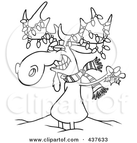 Royalty Free Rf Clip Art Illustration Of A Black And White Outline Design Of A Decorated Christmas Moose In The Snow