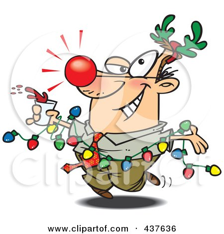 Royalty-Free (RF) Clip Art Illustration of a Red Nosed Cartoon Businessman Wearing Antlers And Holding A Drink While Draped In Christmas Lights by toonaday