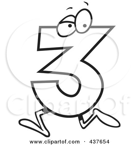 Royalty Free Rf Clip Art Illustration Of A Running Number Three By