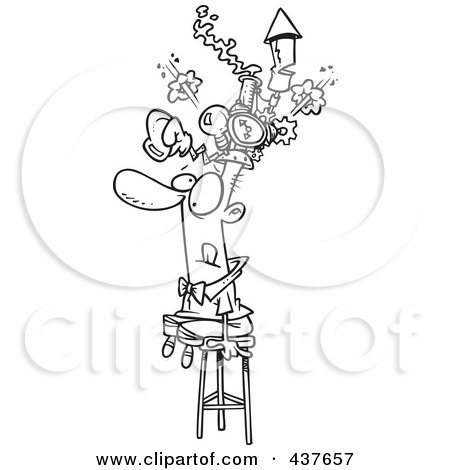 Royalty-Free (RF) Clip Art Illustration of a Black And White Outline Design Of A Man Sitting On A Stool And Wearing A Thinking Cap by toonaday