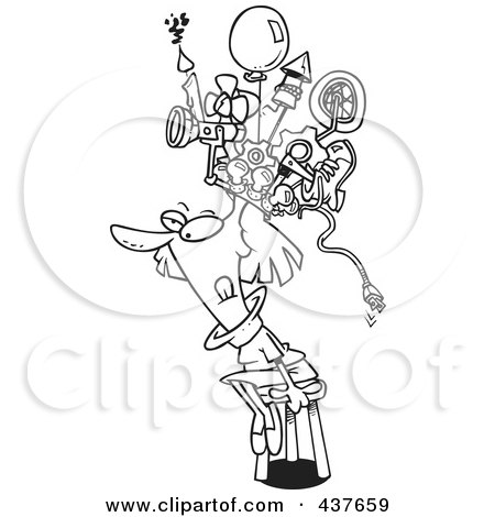Royalty-Free (RF) Clip Art Illustration of a Black And White Outline Design Of A Woman Sitting On A Stool And Wearing A Thinking Cap by toonaday
