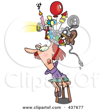 Royalty-Free (RF) Clip Art Illustration of a Woman Sitting On A Stool And Wearing A Thinking Cap by toonaday