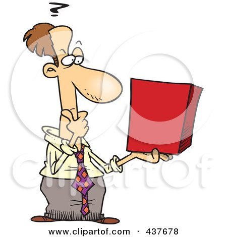 Royalty-Free (RF) Clip Art Illustration of a Businessman Holding A Cube And Thinking by toonaday