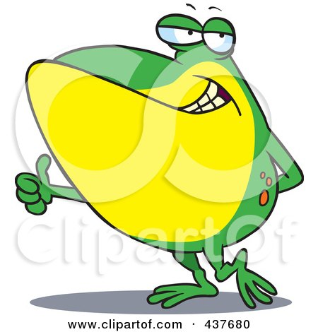 Royalty-Free (RF) Clip Art Illustration of a Big Frog Holding A Thumb Up by toonaday