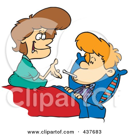 Royalty-Free (RF) Clip Art Illustration of a Mother Taking Her Son's Temperature by toonaday