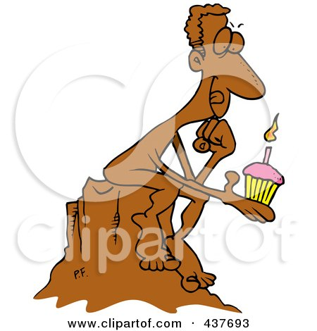 Royalty-Free (RF) Clip Art Illustration of a Birthday Statue Holding A Cupcake And Thinking Of A Wish by toonaday