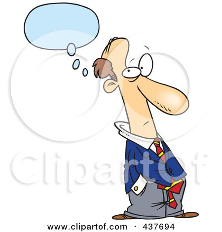 Royalty-Free (RF) Clip Art Illustration of a Cartoon Businessman Thinking With His Hands In His Pockets by toonaday