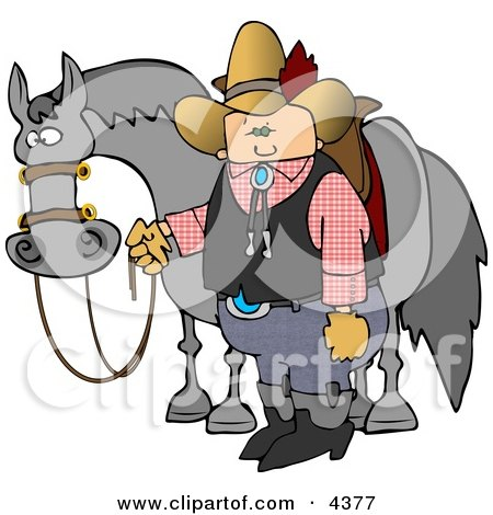Cowboy Standing Beside His Saddled Horse While Holding the Reins Clipart by djart