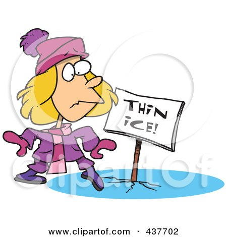 Royalty-Free (RF) Clip Art Illustration of a Cartoon Girl Walking On Thin Ice by toonaday