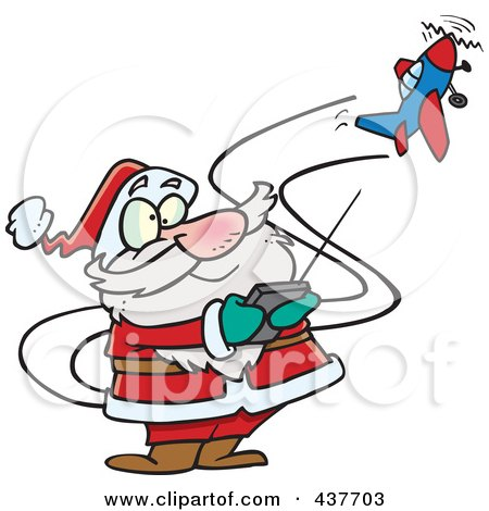 Royalty-Free (RF) Clip Art Illustration of Santa Flying A Remote Control Plane by toonaday