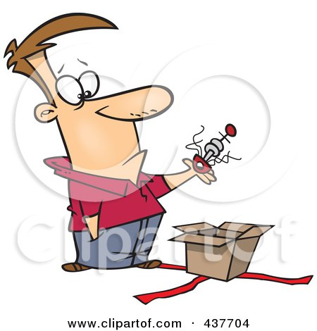 Royalty-Free (RF) Clip Art Illustration of a Man Lifting An Odd Thing Out Of A Gift Box by toonaday