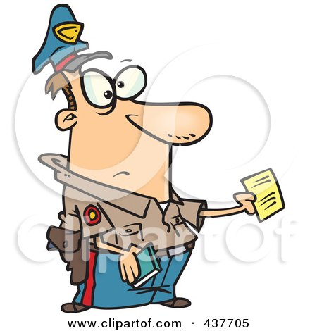 Royalty-Free (RF) Clip Art Illustration of a Cartoon Cop Issuing A Ticket by toonaday