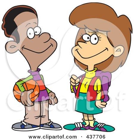 Royalty-Free (RF) Clip Art Illustration of a Friendly Black Cartoon Teen Boy Talking To A School Girl by toonaday