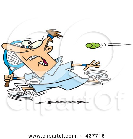 Royalty-Free (RF) Clip Art Illustration of a Cartoon Male Tennis Player Running From The Ball by toonaday