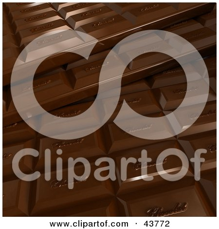 Clipart Illustration of a 3d Milk Chocolate Bar Background by Frank Boston