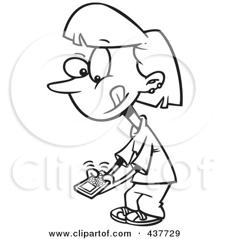 Royalty-Free (RF) Clip Art Illustration of a Black And White Outline Design Of A Little Girl Texting On A Cell Phone by toonaday