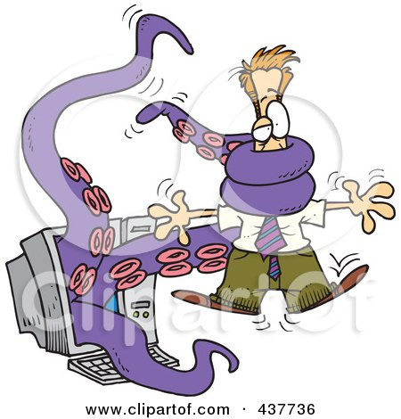 Royalty-Free (RF) Clip Art Illustration of a Tentacled Monster Attacking A Cartoon Man Through A Computer Screen by toonaday