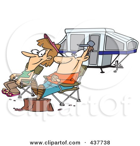 Cartoon Couple Relaxing At A Campsite Near Their Tent Trailer Posters, Art Prints
