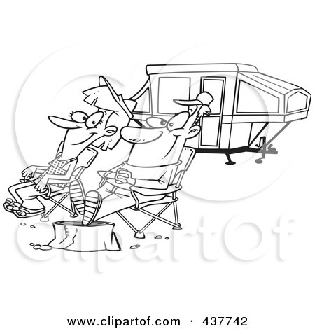 Royalty-Free (RF) Clip Art Illustration of a Black And White Outline Design Of A Couple Relaxing At A Campsite Near Their Tent Trailer by toonaday