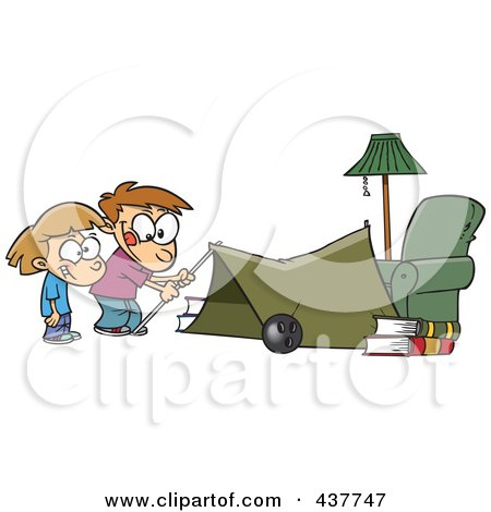 Royalty-Free (RF) Clip Art Illustration of Cartoon Kids Setting Up A Camping Tent In A Living Room by toonaday