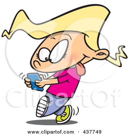 Cartoon Little Girl Walking And Texting On A Cell Phone Poster, Art Print