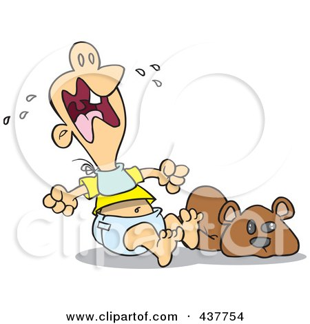 Royalty-Free (RF) Clip Art Illustration of a Teething Baby Throwing A Tantrum by toonaday