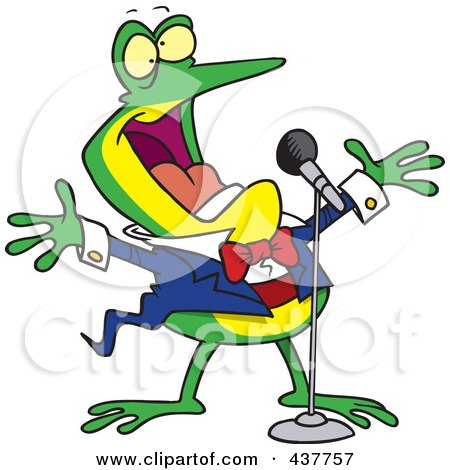 Royalty-Free (RF) Clip Art Illustration of a Cartoon Tenor Frog Singing by toonaday