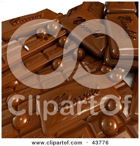 Clipart Illustration of 3d Chocolate Balls And Bars by Frank Boston