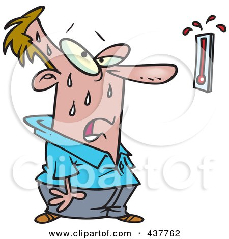 Royalty-Free (RF) Clip Art Illustration of a Cartoon Man Sweating And Staring At A Hot Thermometer by toonaday