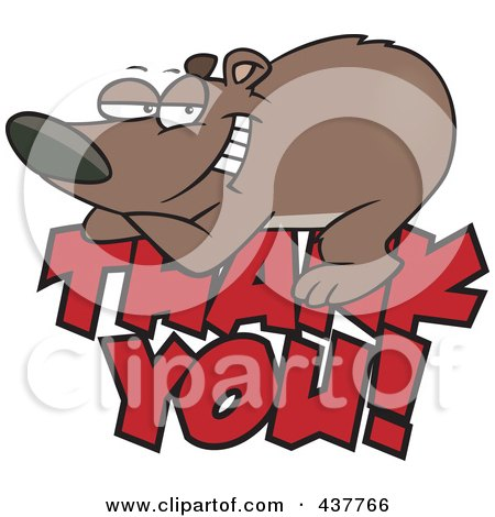 thank you clip art free. Grateful Bear Resting On Thank