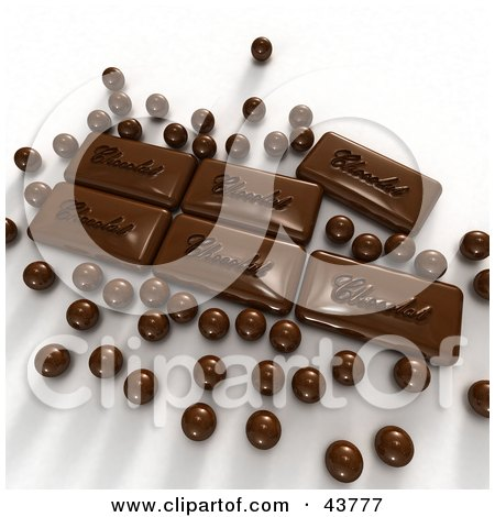Clipart Illustration of 3d Chocolate Balls And Candies by Frank Boston
