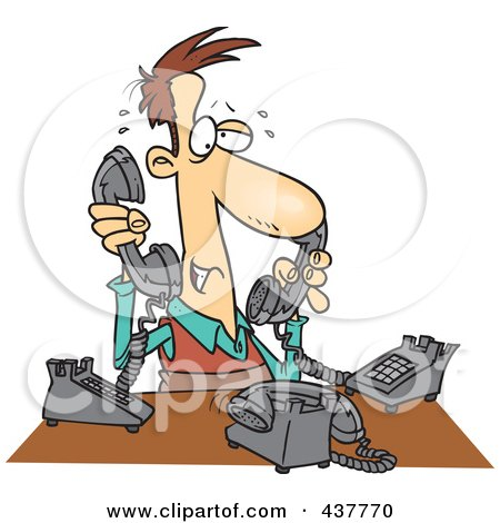 Royalty-Free (RF) Clip Art Illustration of a Cartoon Male Telemarketer Handling Multiple Lines by toonaday