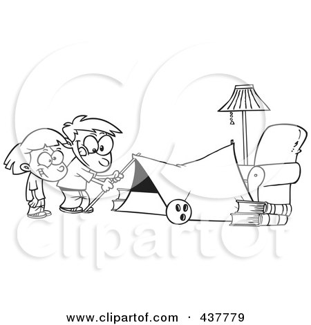 Royalty-Free (RF) Clip Art Illustration of a Black And White Outline Design Of Kids Setting Up A Camping Tent In A Living Room by toonaday