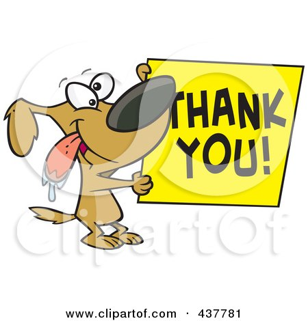 Royalty-Free (RF) Clip Art Illustration of a Drooling Cartoon Grateful Dog Holding A Thank You Sign by toonaday