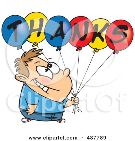 Royalty-Free (RF) Clip Art Illustration of a Grateful Cartoon Boy Holding Thanks Balloons by toonaday