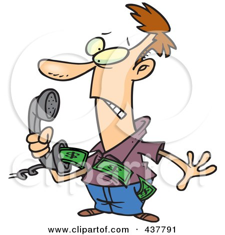 Royalty-Free (RF) Clip Art Illustration of an Annoyed Cartoon Man Holding A Phone With Telemarket Money Flying Out by toonaday