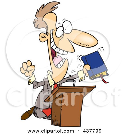 Royalty-Free (RF) Clip Art Illustration of a Cartoon Televangelist Man Preaching At A Podium by toonaday
