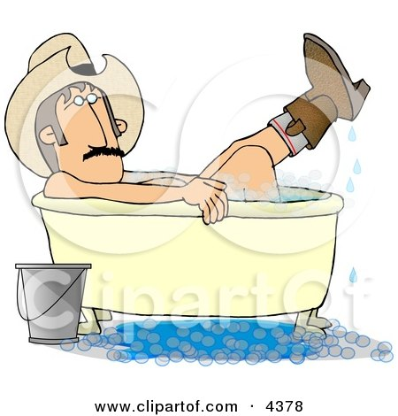 Redneck Cowboy Bathing With Hat And Boots On Clipart