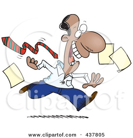 Royalty-Free (RF) Clip Art Illustration of a Cartoon Businessman Tripping Off His Tie And Dropping Papers At The End Of A Friday Work Day by toonaday