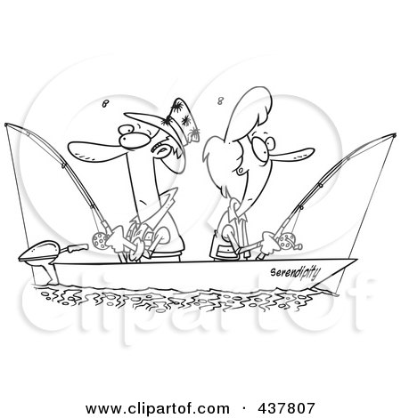 Royalty-Free (RF) Clip Art Illustration of a Black And White Outline Design Of A Couple Fishing Together In A Boat by toonaday