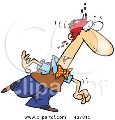Royalty-Free (RF) Clip Art Illustration of a Walking Man Being Smacked In The Head With A Tomato by toonaday