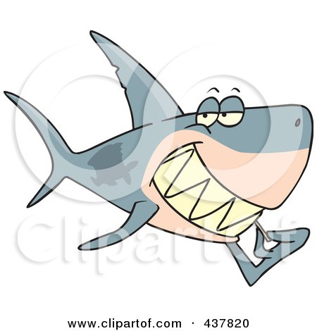 Royalty-Free (RF) Clip Art Illustration of a Grinning Shark Using A Toothpick by toonaday