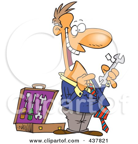Royalty-Free (RF) Clip Art Illustration of a Cartoon Salesman Trying To Sell Tools by toonaday