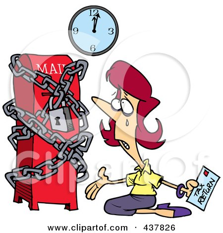Royalty-Free (RF) Clip Art Illustration of a Cartoon Woman Kneeling And Crying With Her Tax Return At A Locked Up Mail Box by toonaday