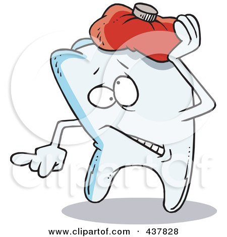 Royalty-Free (RF) Clip Art Illustration of a Tooth Trying To Soothe An Ache With An Ice Pack by toonaday