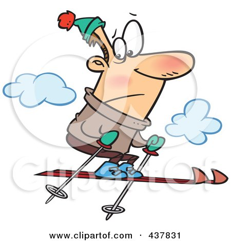 Royalty-Free (RF) Clip Art Illustration of a Nervous Man Jumping Too High While Skiing by toonaday