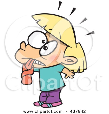 Royalty-Free (RF) Clip Art Illustration of a Blond Shocked Tongue Tied Girl by toonaday