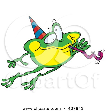 Royalty-Free (RF) Clip Art Illustration of a Leaping Party Frog by toonaday