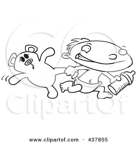 Royalty-Free (RF) Clip Art Illustration of a Black And White Outline Design Of A Toddler Boy Running With A Bottle And Teddy Bear by toonaday
